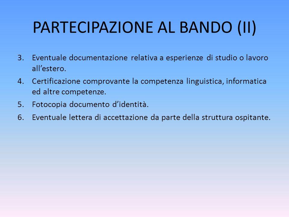 PARTECIPAZIONE AL BANDO (II)