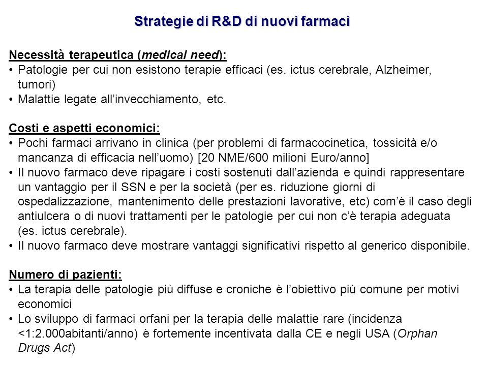 Strategie di R&D di nuovi farmaci