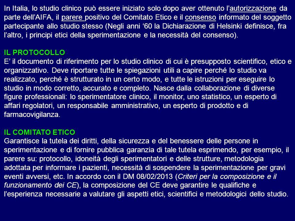 In Italia, lo studio clinico può essere iniziato solo dopo aver ottenuto l'autorizzazione da parte dell'AIFA, il parere positivo del Comitato Etico e il consenso informato del soggetto partecipante allo studio stesso (Negli anni '60 la Dichiarazione di Helsinki definisce, fra l'altro, i principi etici della sperimentazione e la necessità del consenso).