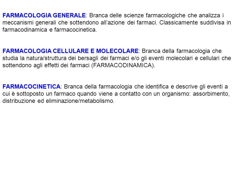 FARMACOLOGIA GENERALE: Branca delle scienze farmacologiche che analizza i meccanismi generali che sottendono all'azione dei farmaci. Classicamente suddivisa in farmacodinamica e farmacocinetica.