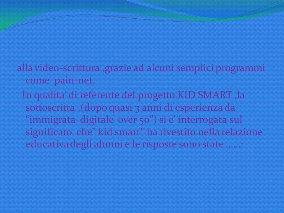 alla video-scrittura ,grazie ad alcuni semplici programmi come pain-net.