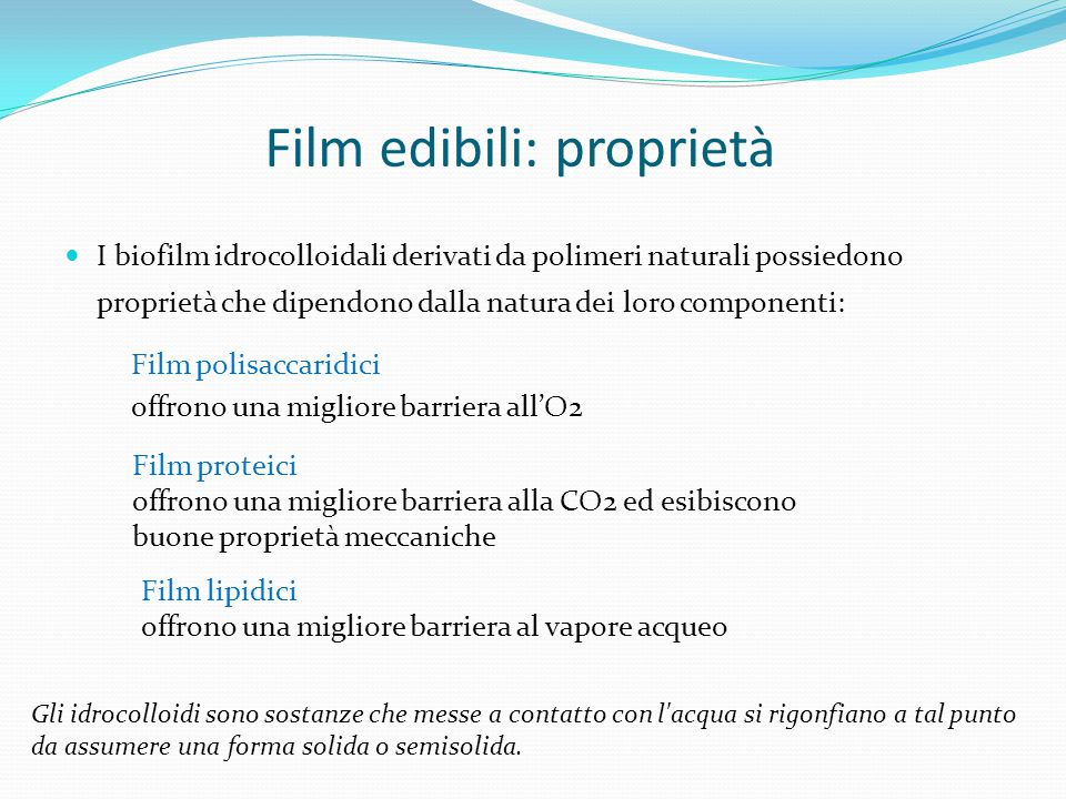 Film edibili: proprietà