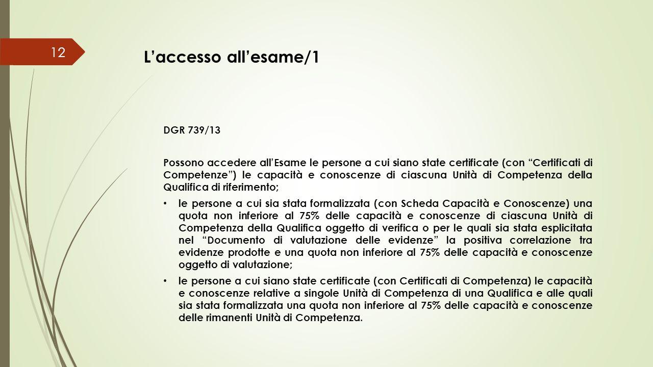 L'accesso all'esame/1 DGR 739/13