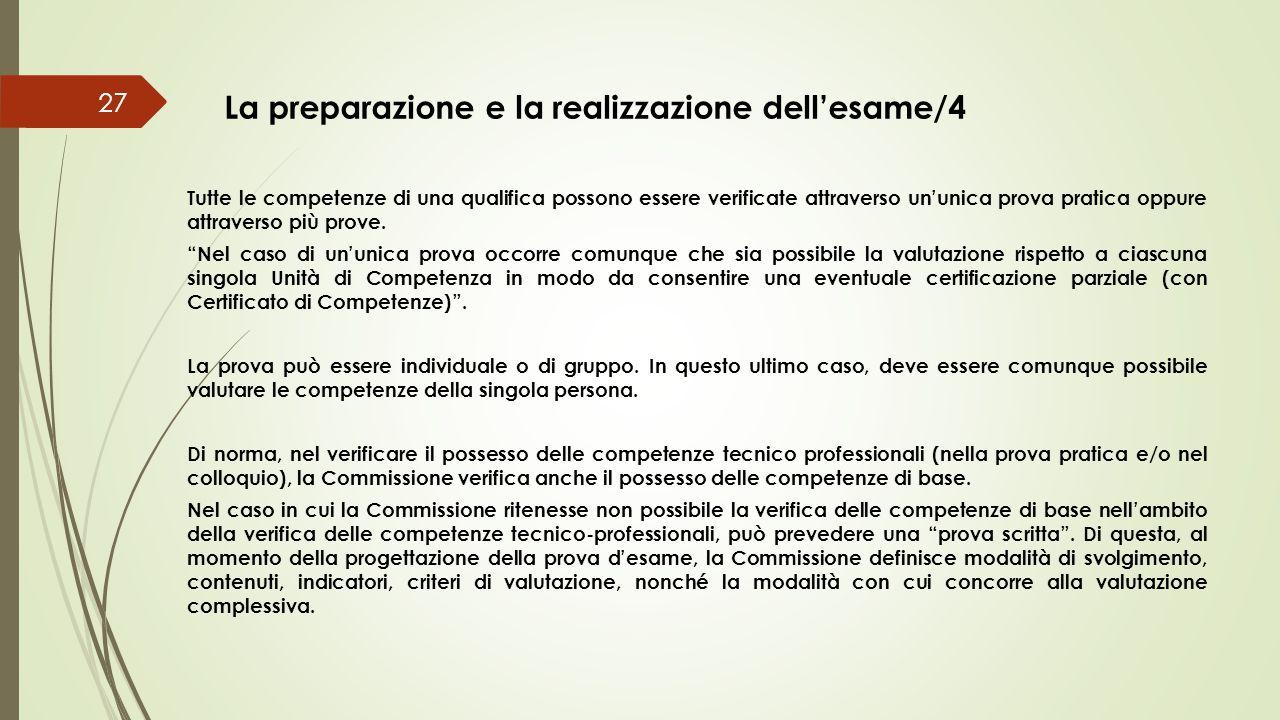 La preparazione e la realizzazione dell'esame/4