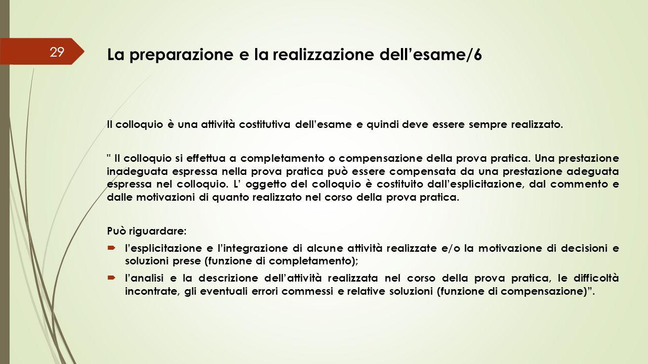 La preparazione e la realizzazione dell'esame/6