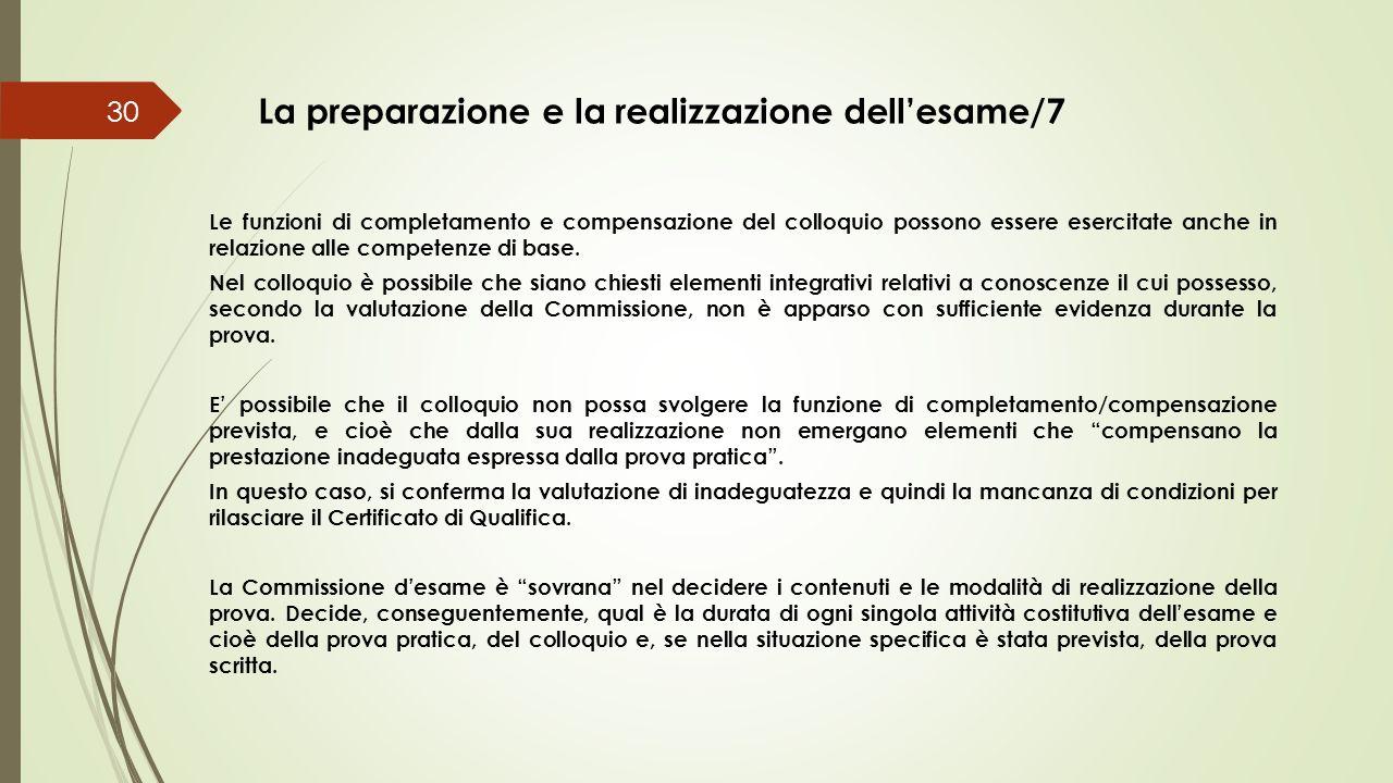 La preparazione e la realizzazione dell'esame/7
