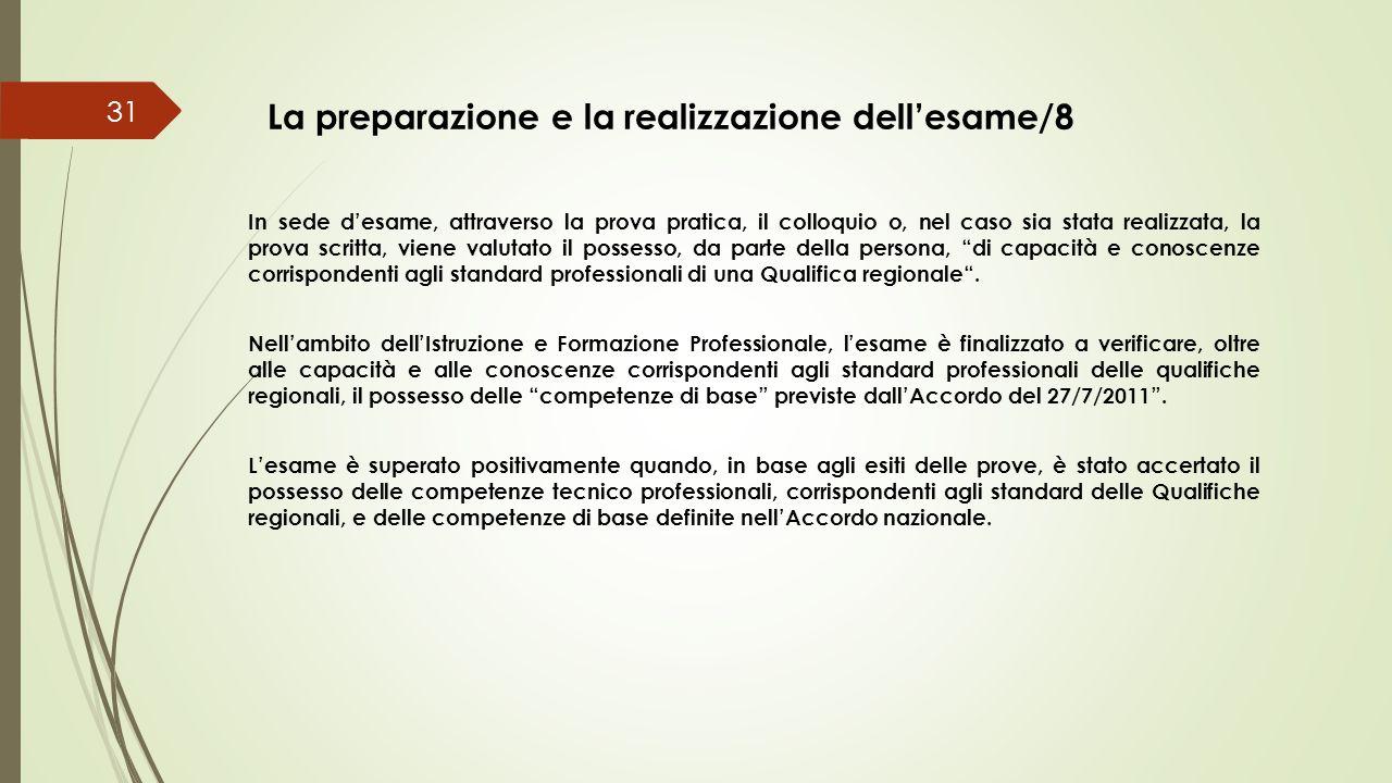 La preparazione e la realizzazione dell'esame/8