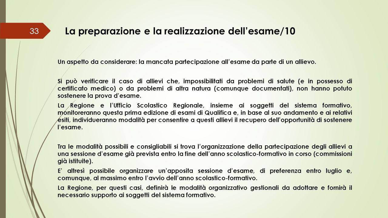 La preparazione e la realizzazione dell'esame/10