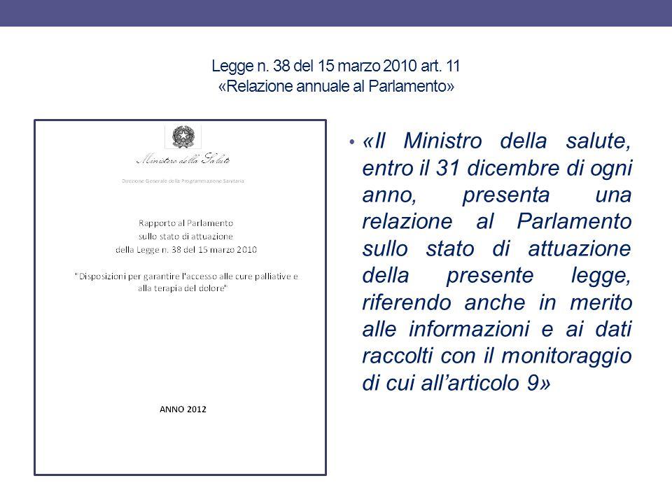 Legge n. 38 del 15 marzo 2010 art. 11 «Relazione annuale al Parlamento»