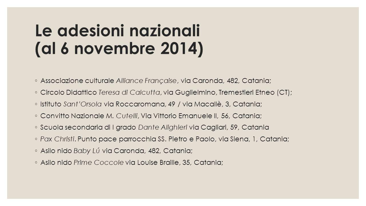 Le adesioni nazionali (al 6 novembre 2014)