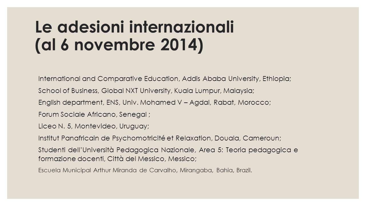Le adesioni internazionali (al 6 novembre 2014)
