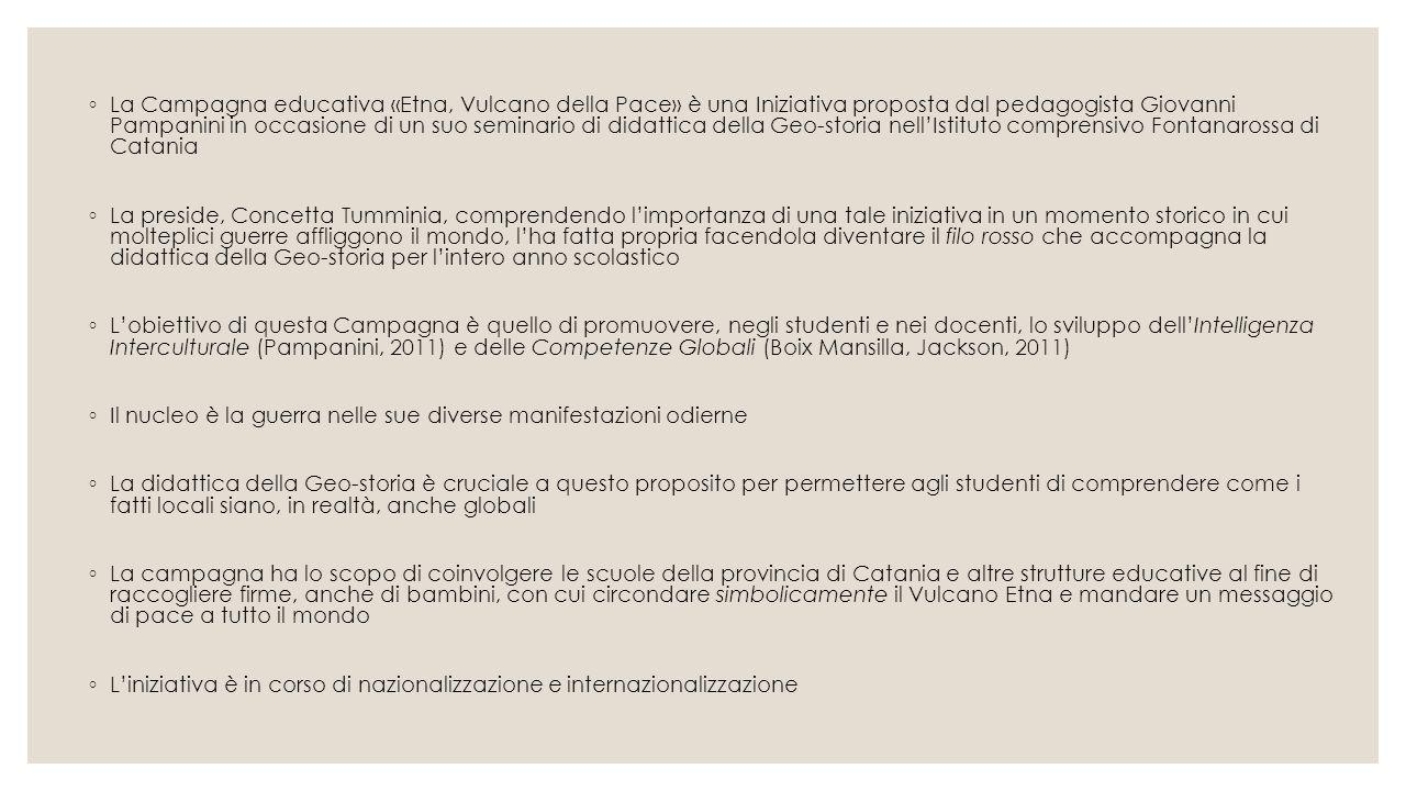 La Campagna educativa «Etna, Vulcano della Pace» è una Iniziativa proposta dal pedagogista Giovanni Pampanini in occasione di un suo seminario di didattica della Geo-storia nell'Istituto comprensivo Fontanarossa di Catania