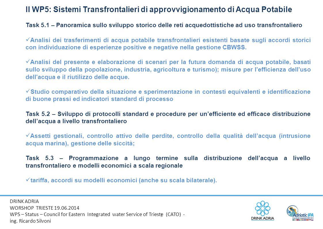 Il WP5: Sistemi Transfrontalieri di approvvigionamento di Acqua Potabile