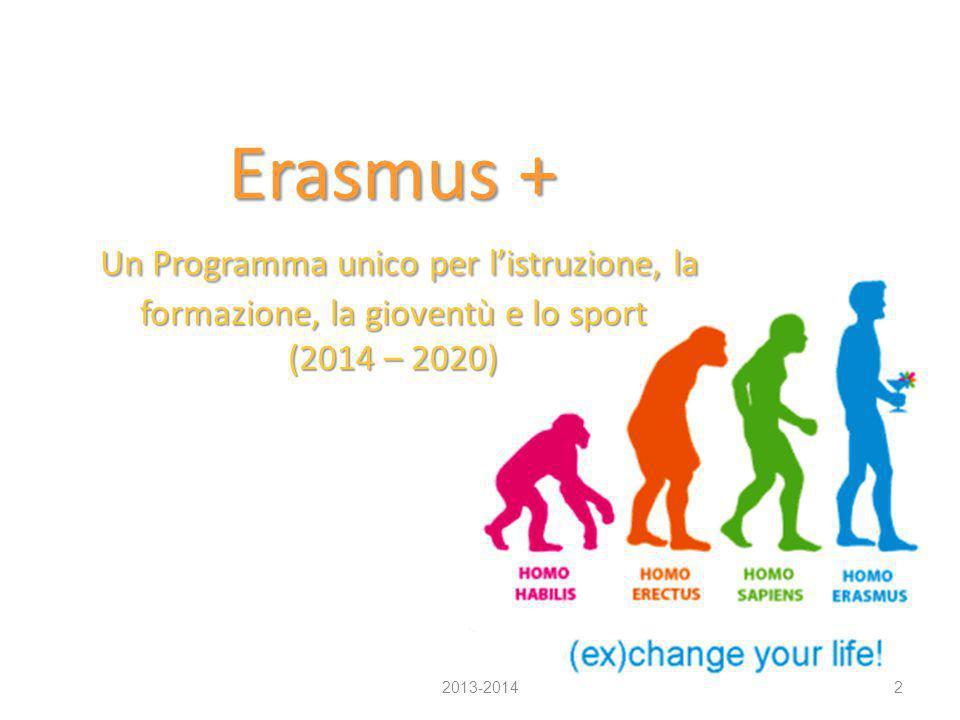 Erasmus + Un Programma unico per l'istruzione, la formazione, la gioventù e lo sport (2014 – 2020)