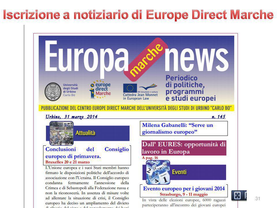 Iscrizione a notiziario di Europe Direct Marche