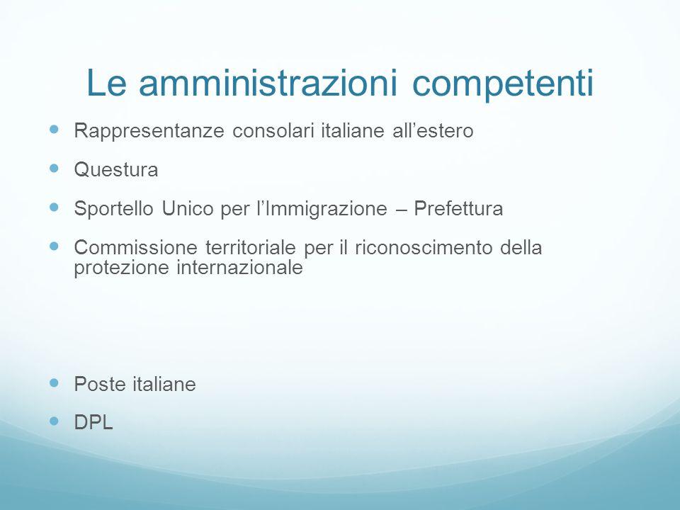 Le amministrazioni competenti