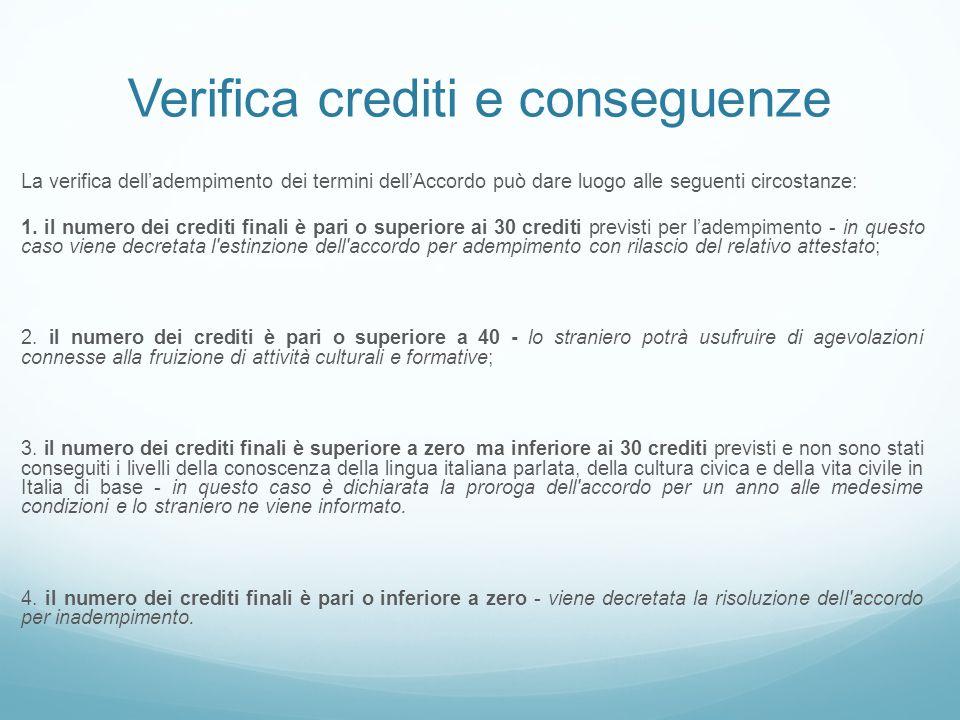 Verifica crediti e conseguenze