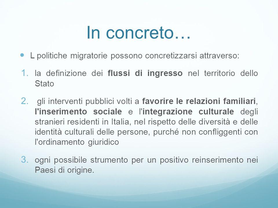 In concreto… L politiche migratorie possono concretizzarsi attraverso: