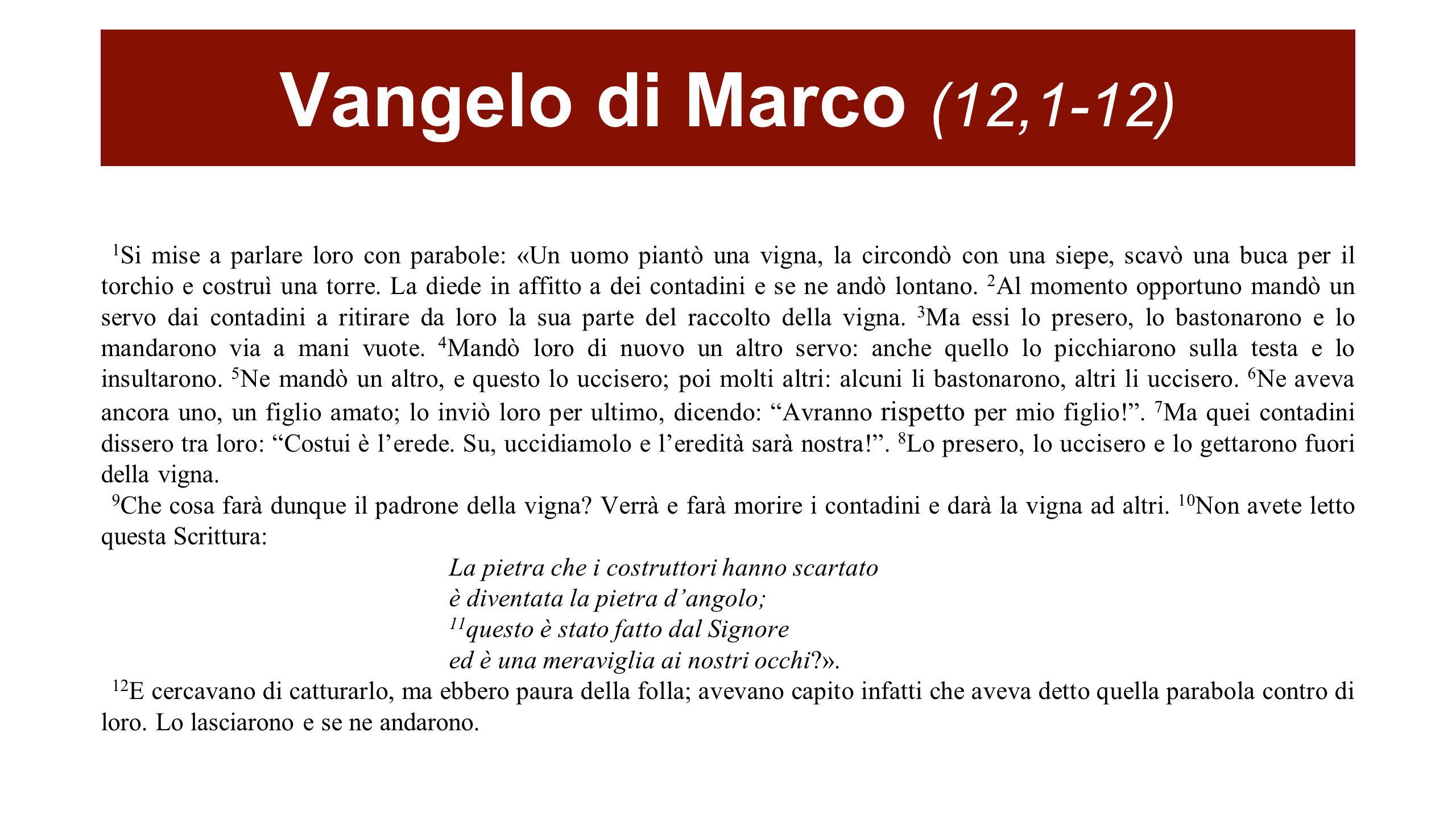 Vangelo di Marco (12,1-12)