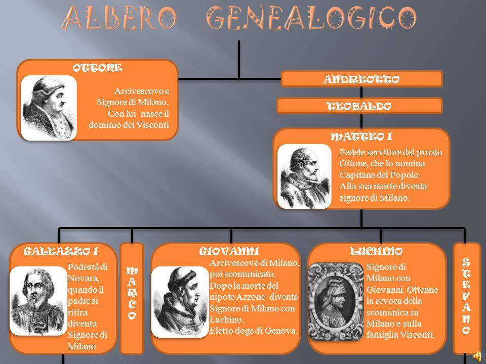 ALBERO GENEALOGICO OTTONE ANDREOTTO Arcivescovo e Signore di Milano.