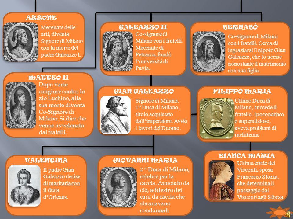 AZZONE Mecenate delle arti, diventa Signore di Milano con la morte del padre Galeazzo I. GALEAZZO II.