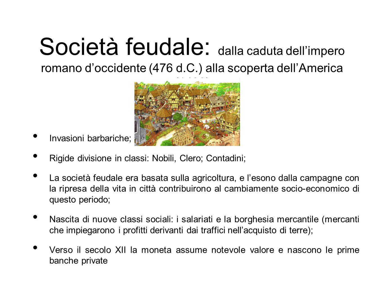 Società feudale: dalla caduta dell'impero romano d'occidente (476 d. C