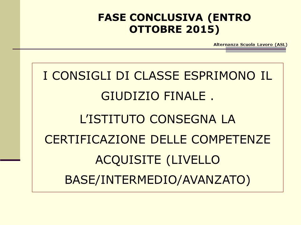 FASE CONCLUSIVA (ENTRO OTTOBRE 2015)