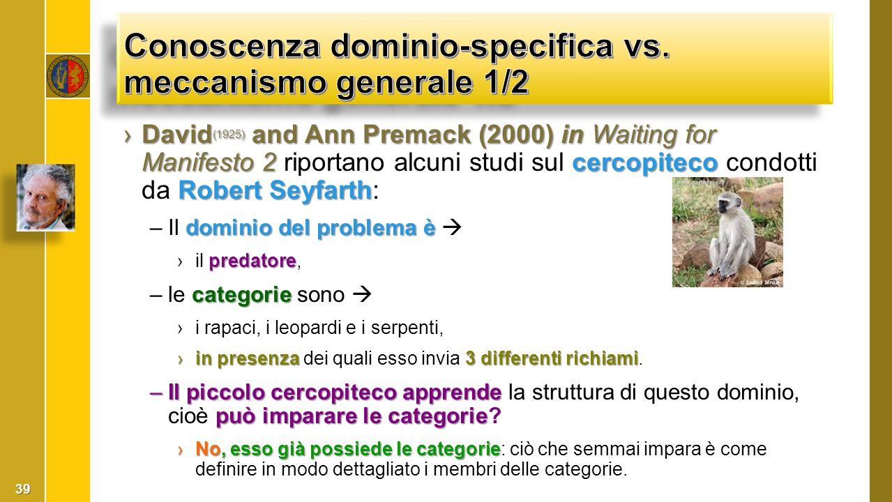 Conoscenza dominio-specifica vs. meccanismo generale 1/2