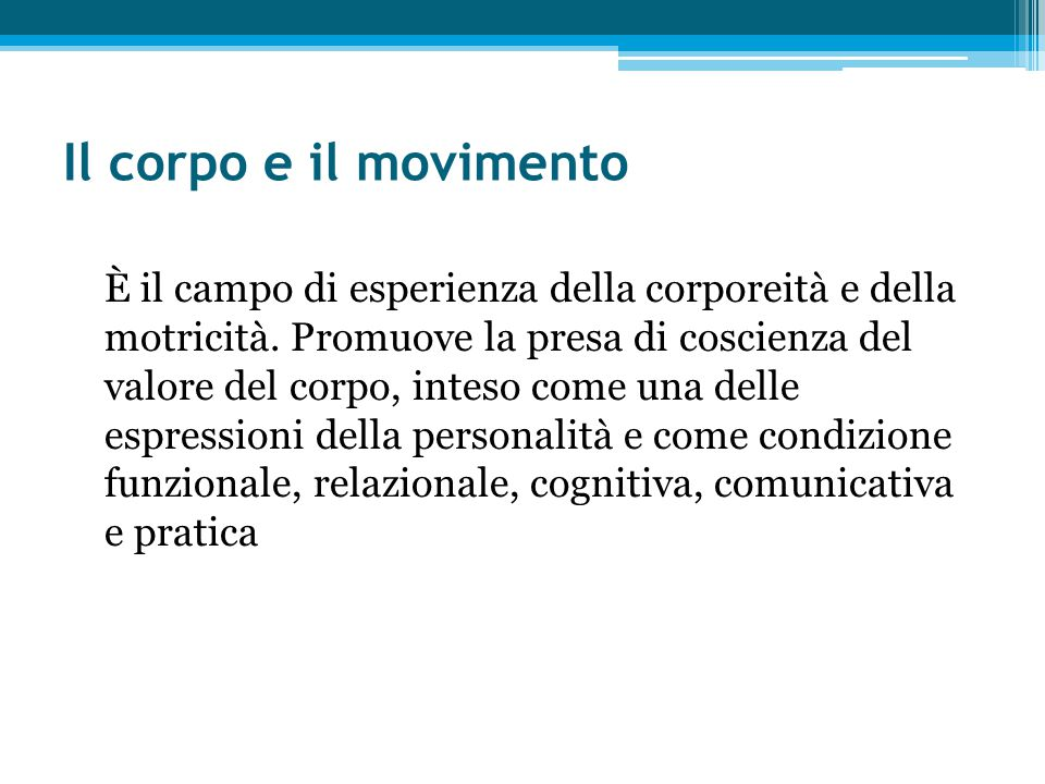 Il corpo e il movimento