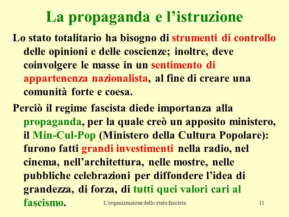 La propaganda e l'istruzione