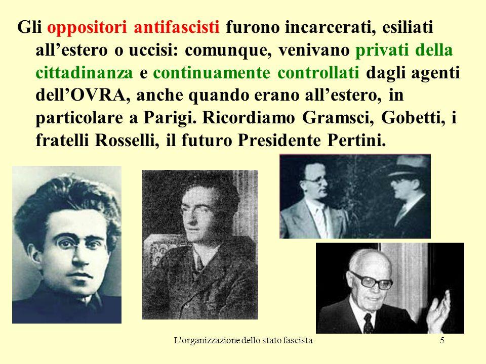 L organizzazione dello stato fascista