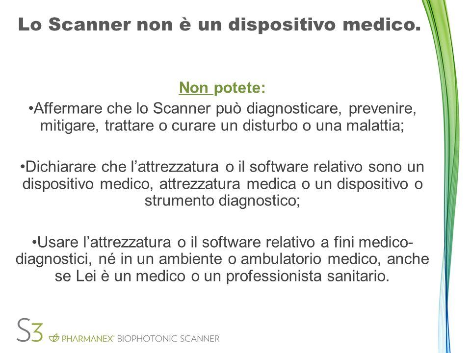 Lo Scanner non è un dispositivo medico.