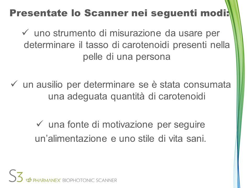 Presentate lo Scanner nei seguenti modi: