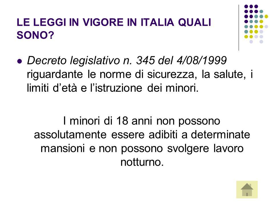LE LEGGI IN VIGORE IN ITALIA QUALI SONO