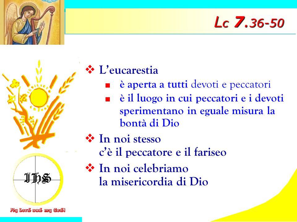Lc 7.36-50 L'eucarestia In noi stesso c'è il peccatore e il fariseo