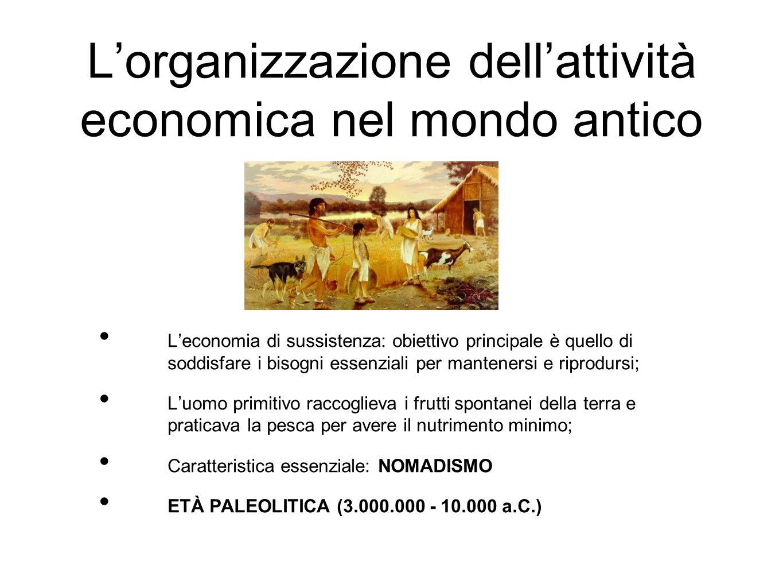 L'organizzazione dell'attività economica nel mondo antico