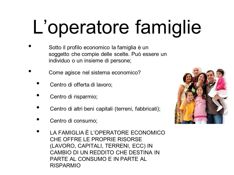 L'operatore famiglie Sotto il profilo economico la famiglia è un soggetto che compie delle scelte. Può essere un individuo o un insieme di persone;
