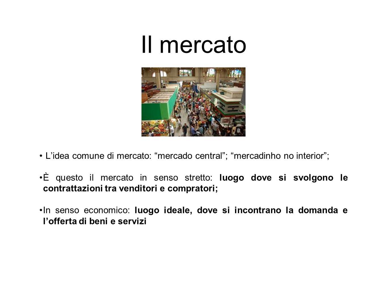Il mercato L'idea comune di mercato: mercado central ; mercadinho no interior ;