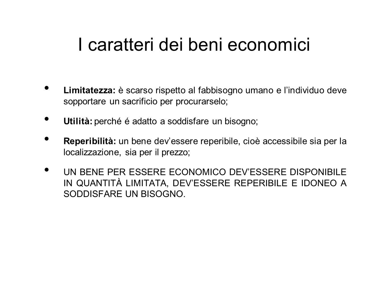 I caratteri dei beni economici