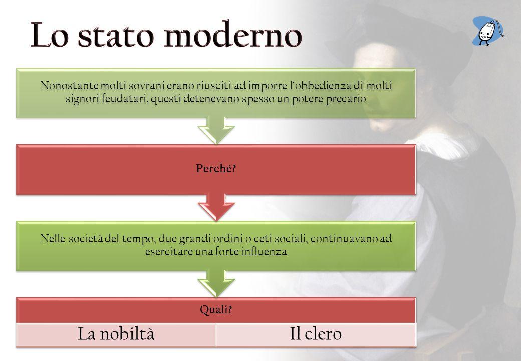 Lo stato moderno La nobiltà Il clero