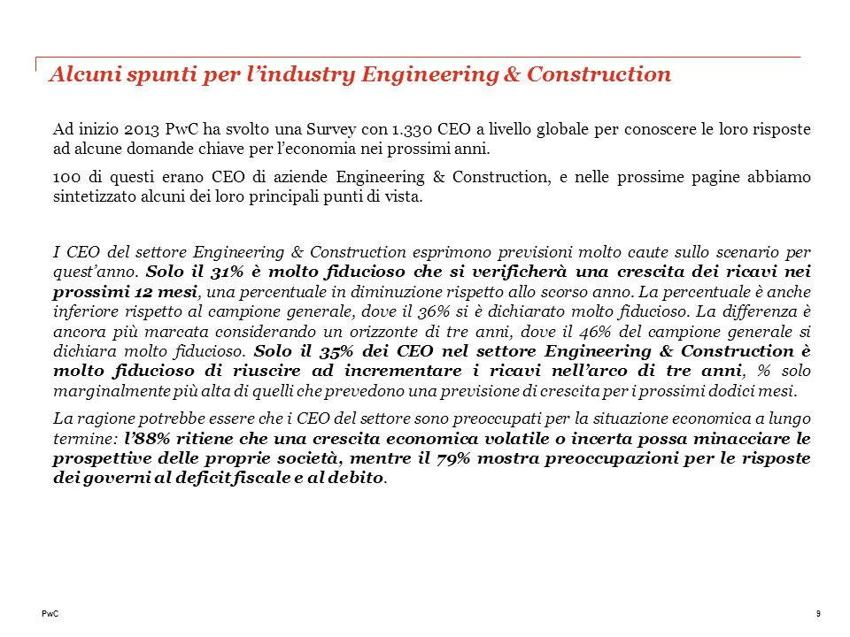 Alcuni spunti per l'industry Engineering & Construction