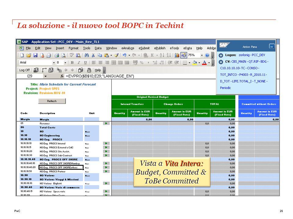 La soluzione - il nuovo tool BOPC in Techint