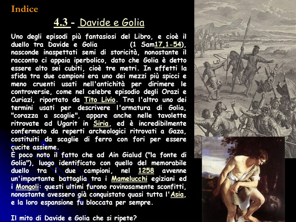 Indice 4.3 - Davide e Golia.