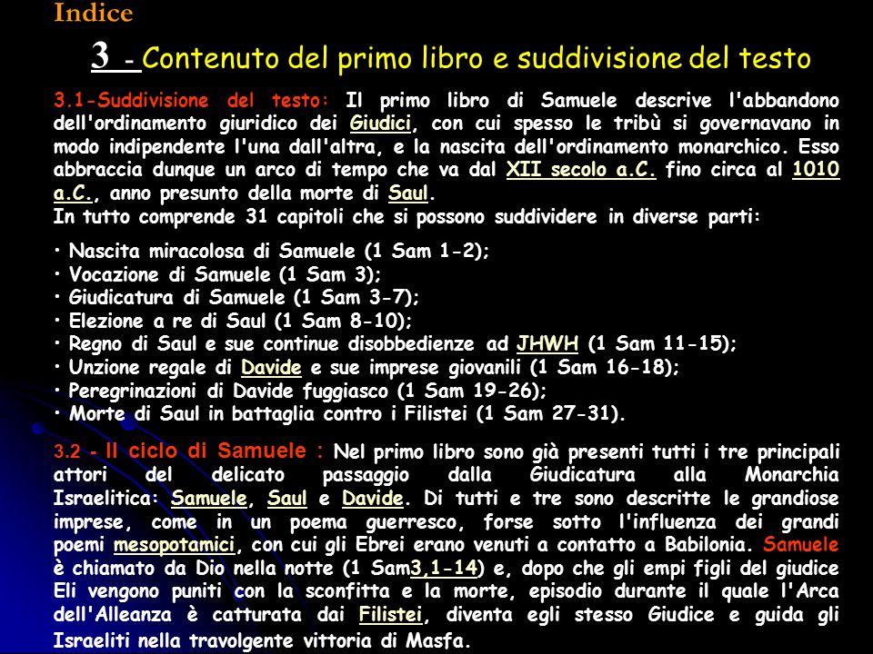 3 - Contenuto del primo libro e suddivisione del testo