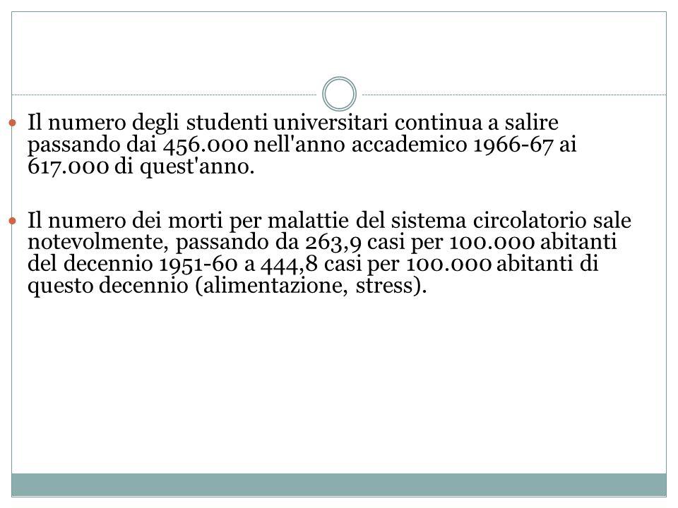 Il numero degli studenti universitari continua a salire passando dai 456.000 nell anno accademico 1966-67 ai 617.000 di quest anno.