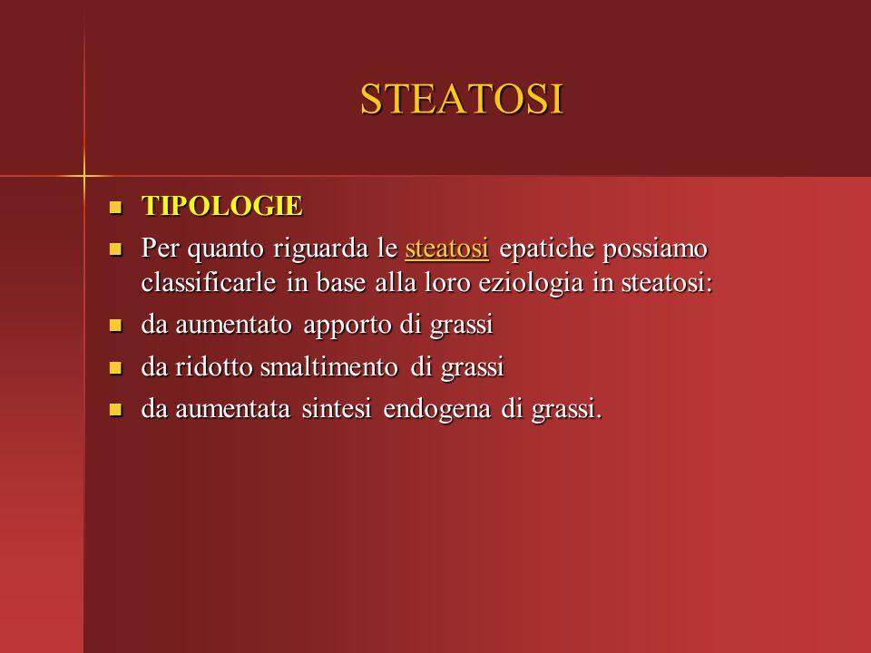 STEATOSI TIPOLOGIE. Per quanto riguarda le steatosi epatiche possiamo classificarle in base alla loro eziologia in steatosi: