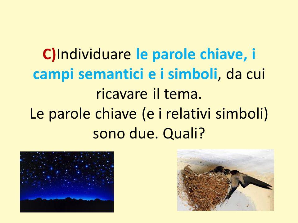 C)Individuare le parole chiave, i campi semantici e i simboli, da cui ricavare il tema.