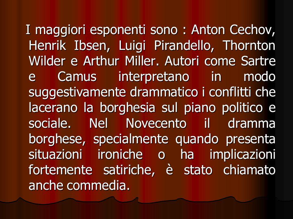 I maggiori esponenti sono : Anton Cechov, Henrik Ibsen, Luigi Pirandello, Thornton Wilder e Arthur Miller.
