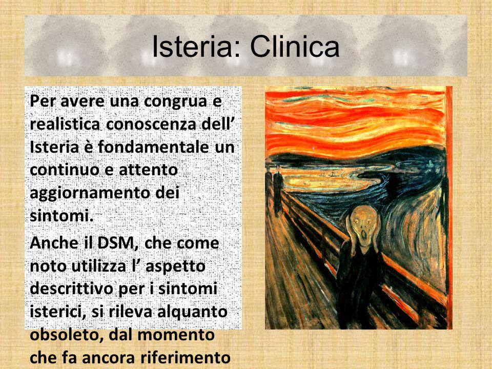 Isteria: Clinica Per avere una congrua e realistica conoscenza dell' Isteria è fondamentale un continuo e attento aggiornamento dei sintomi.