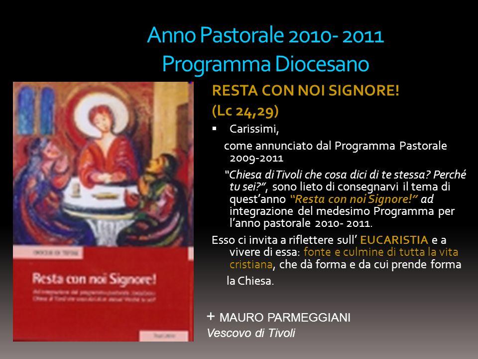 Anno Pastorale 2010- 2011 Programma Diocesano